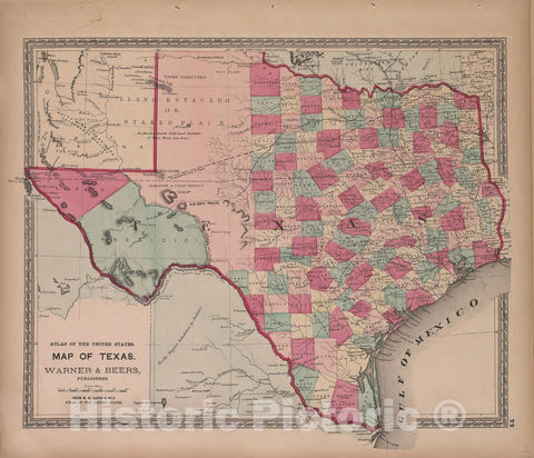 Historic 1870 Map - Atlas of Marshall Co. and The State of Illinois - Map of Texas - Atlas of Marshall County and The State of Illinois