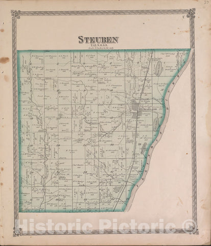 Historic 1870 Map - Atlas of Marshall Co. and The State of Illinois - Steuben - Atlas of Marshall County and The State of Illinois