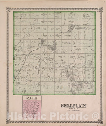 Historic 1870 Map - Atlas of Marshall Co. and The State of Illinois - BellPlain - Atlas of Marshall County and The State of Illinois