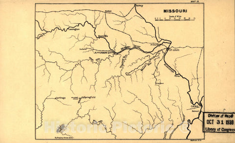Historic 1905 Map - Maps, Wood's Civil War in The United States. - Missouri (Map 9)