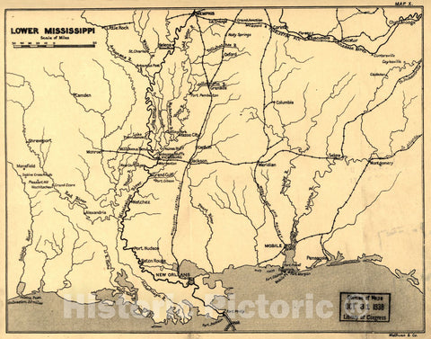 Historic 1905 Map - Maps, Wood's Civil War in The United States. - Lower Mississippi (Map 10)