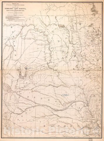 Historic 1867 Map - Map of Nebraska and Dakota and portions of The States and Territories bordering thereon