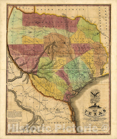 Historic 1837 Map - Map of Texas with Parts of The adjoining States