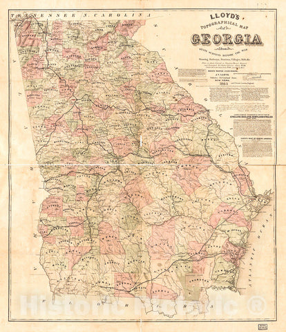 Historic 1864 Map - Lloyd's Topographical map of Georgia from State surveys Before The war Showing Railways, Stations, Villages, Mills, c.