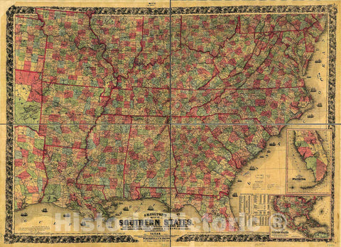 Historic 1863 Map - J. H. Colton's map of The Southern States. Maryland, Delaware, Virginia, Kentucky, Tennessee, Missouri, North Carolina, South Carolina, Georgia, Alabama, Mississippi,