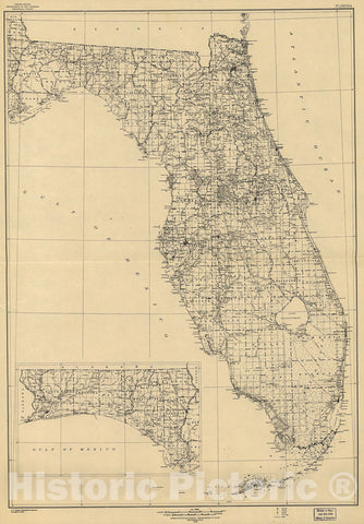 Historic 1940 Map - State of Florida; Base map