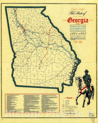 Historic 1961 Map - The State of Georgia, Showing The Major Campaign Areas and Engagement Sites of The War Between The States, 1861-1865.