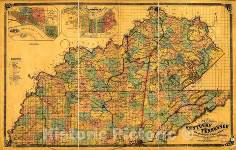 Historic 1861 Map - New map of Kentucky and Tennessee from Authentic Reports of County Surveyors Throughout The States of Kentucky and Tennessee with a New Key for Measuring Distances 1