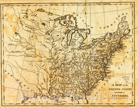 Historic 1805 Map - A Map of The United States and Part of Louisiana.