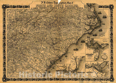 Historic 1861 Map - J. H. Colton's Topographical map of North and South Carolina. A Large Portion of Georgia & Part of adjoining States