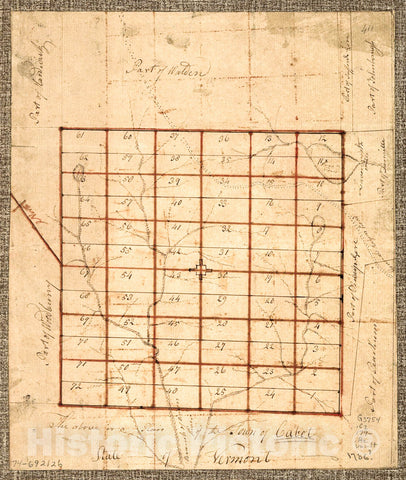 Historic 1780 Map - The Above is a Plan of The Town of Cabot, State of Vermont.