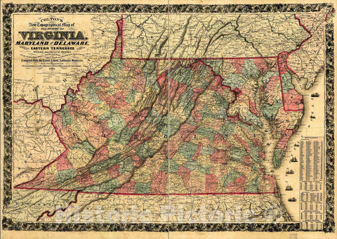 Historic 1862 Map - Colton's New Topographical map of The States of Virginia, Maryland & Delaware : Showing Also Eastern Tennessee & Parts of All The fortifications