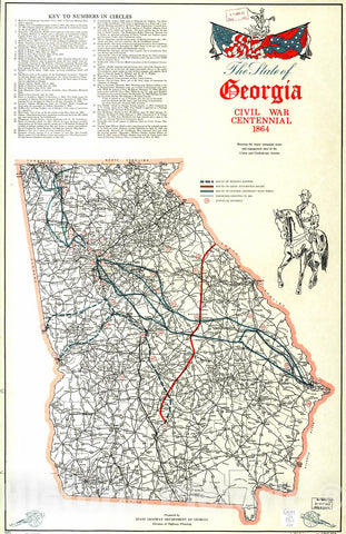 Historic 1964 Map - The State of Georgia, Civil War Centennial, 1864 : Showing The Major Campaign Areas and Engagement Sites of The Union and Confederate Armies