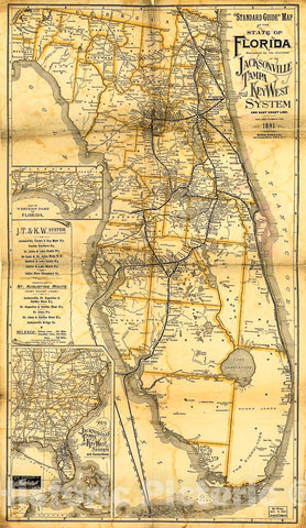 Historic 1891 Map - ;Standard Guide; map of The State of Florida.