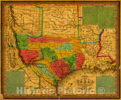 Historic 1835 Map - New map of Texas : with The contiguous American & Mexican States