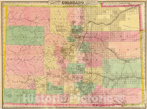 Historic 1878 Map - Colton's New sectional map of The State of Colorado.
