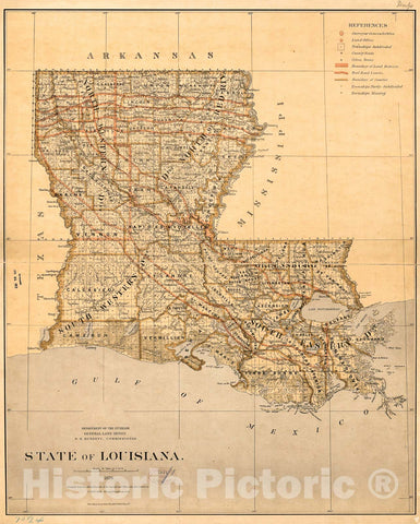 Historic 1876 Map - State of Louisiana