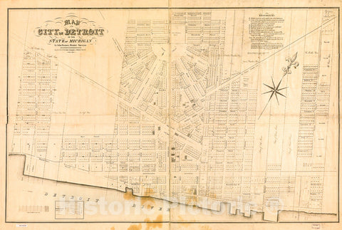 Historic 1835 Map - Map of The City of Detroit in The State of Michigan