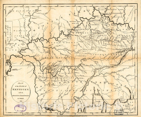 Historic 1794 Map - Map of The State of Kentucky : with The adjoining Territories