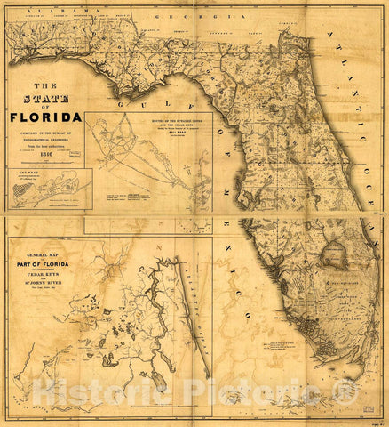 Historic 1846 Map - The State of Florida.