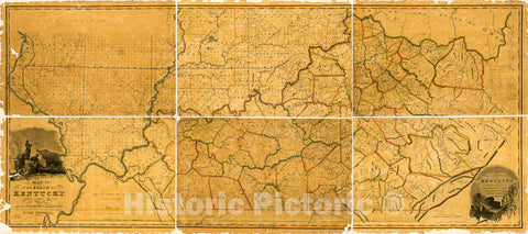 Historic 1818 Map - A map of The State of Kentucky : from Actual Survey ; Also Part of Indiana and Illinois