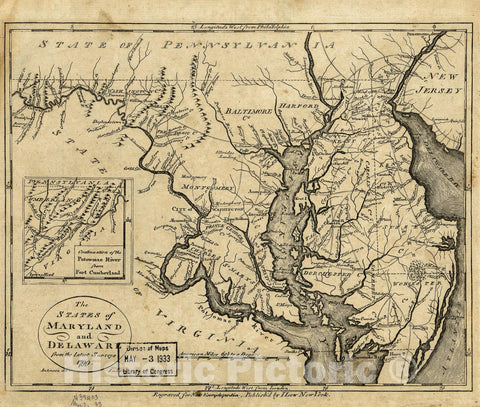 Historic 1799 Map - The States of Maryland and Delaware from The Latest surveys, 1799.