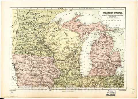 Historic 1873 Map - Western States, Michigan, Wisconsin, Minnesota, Iowa : with portions of Illinois & Indiana