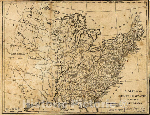 Historic 1780 Map - A map of The United States and Part of Louisiana.