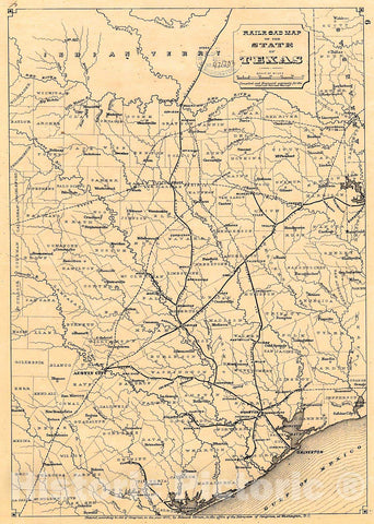 Historic 1873 Map - Railroad map of The State of Texas