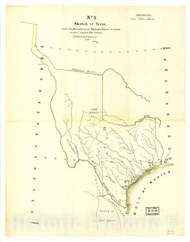 Historic 1839 Map - Sketch of Texas with The Boundaries of Mexican States as Shown on General Austin's map of Texas published by R. S. Tanner, 1839.