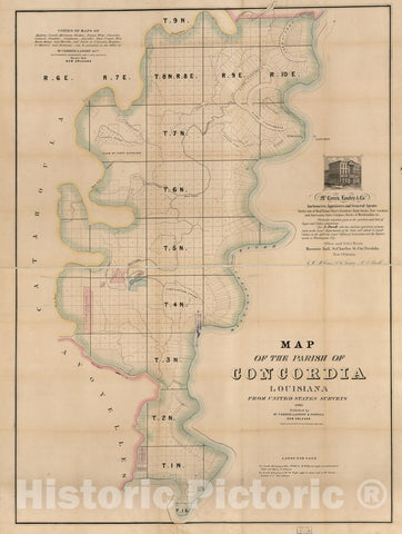 Historic 1860 Map - Map of The Parish of Concordia, Louisiana : from United States surveys.