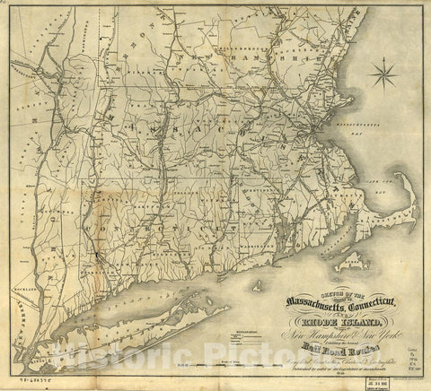 Historic 1846 Map - Sketch of The States of Massachusetts, Connecticut, and Rhode Island, and Parts of New Hampshire & New York exhibiting The Several Rail Road Routes Completed
