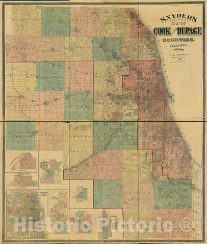 Historic 1890 Map - Snyder's Real Estate map of Cook and DuPage Counties, Illinois.