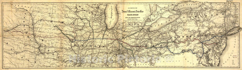 Historic 1868 Map - Map Showing The Iowa & Missouri State Line Railroad and its Connections.