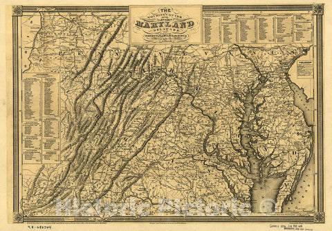 Historic 1836 Map - The Tourist'S Guide Through The States Of Maryland, Delaware, An - Vintage Wall Art