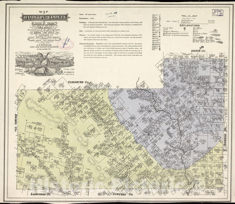 Historic 1876 Map - Map of Hamilton County, State of Texas : Showing The Extent of All Public surveys, Land Grants and All Other Official Information compiled from The Records