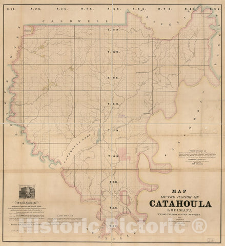 Historic 1860 Map - Map of The Parish of Catahoula, Louisiana : from United States surveys.