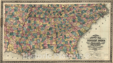 Historic 1864 Map - Railway and County map of The Southern States; embracing The States of N. Carolina, S. Carolina, Georgia, Alabama, Florida, Mississippi, Louisiana, Arkansas, and Tenn