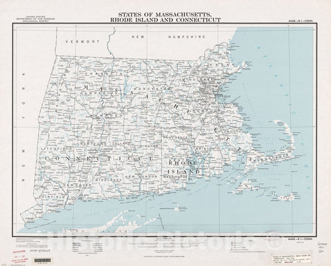 Historic 1971 Map - States of Massachusetts, Rhode Island, and Connecticut : Base map