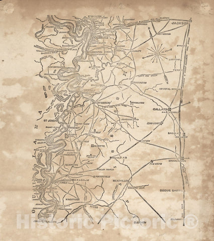 Historic Map - Civil War Proof maps : United States. - Mississippi (Vicksburg to Jackson and South from Kingston to Summit)