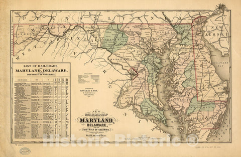 Historic 1876 Map - New Railroad map of The State of Maryland, Delaware, and The District of Columbia. Compiled and Drawn by Frank Arnold Gray.