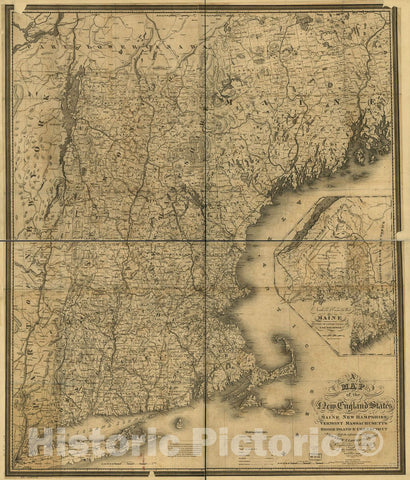 Historic 1849 Map - A map of The New England States, Maine, New Hampshire, Vermont, Massachusetts, Rhode Island & Connecticut with The Adjacent Parts of New York & Lower Canada