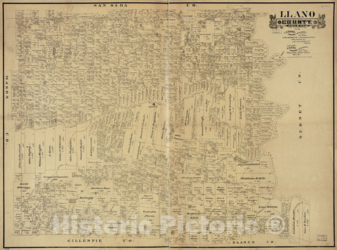 Historic 1890 Map - Llano County, State of Texas.