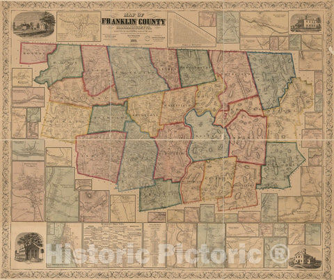 Historic 1858 Map - Map of Franklin County, Massachusetts : Based on The Trigonometrical Survey of The State : Details from Original surveys