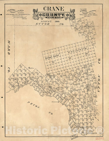 Historic 1889 Map - Crane County, State of Texas.