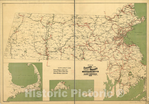 Historic 1899 Map - Map of The Electric Railways of The State of Massachusetts accompanying The Report of The Railroad commissioners, 1899.