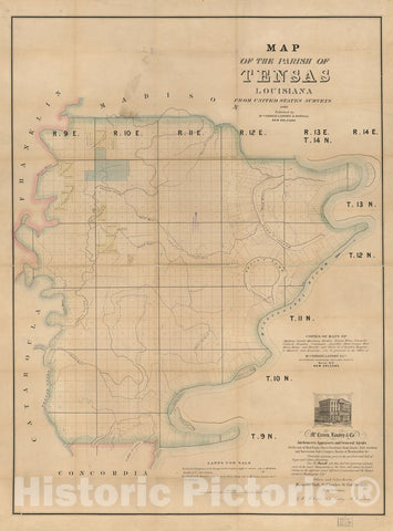 Historic 1860 Map - Map of The Parish of Tensas, Louisiana : from United States Surveys.