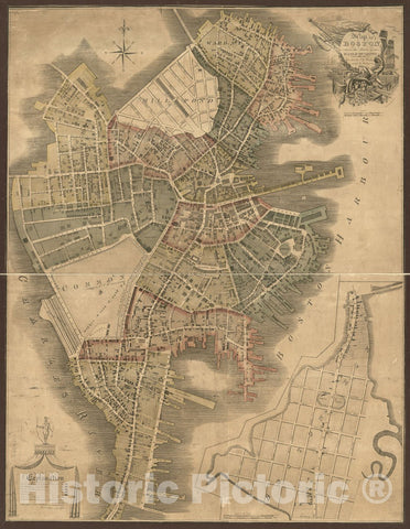 Historic 1814 Map - Map of Boston in The State of Massachusetts : 1814