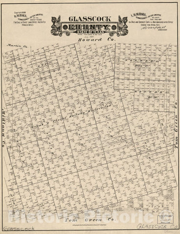Historic 1889 Map - Glasscock County, State of Texas.