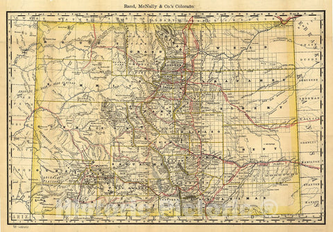Historic 1879 Map - Indexed map of Colorado Showing The Railroads in The State, and The Express Company Doing Business Over Each, Also Counties and Rivers.